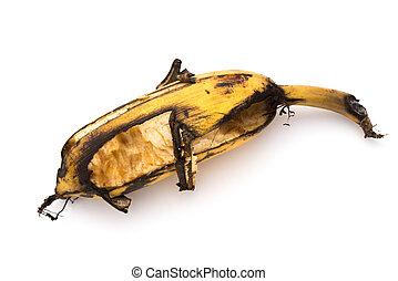 rijp, bited, op, insect, afsluiten, witte , banaan