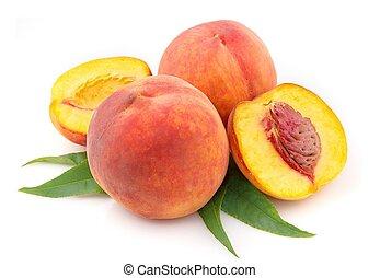 rijp, perzik, vruchten