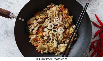 rijst, chicken, heerlijk, gebraden, wok