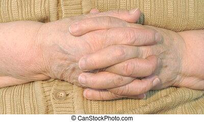 rimpelig, oud, huid, hand, vrouw