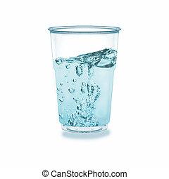 rimpeling, glas, witte , achtergrond., zoet water, vrijstaand