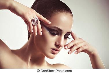 ring., vrouw, mode, juwelen