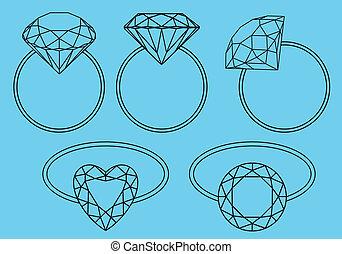 ringen, diamant, vector, set