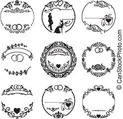 ringen, frame, ronde, trouwfeest