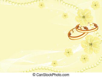 ringen, gele, trouwfeest