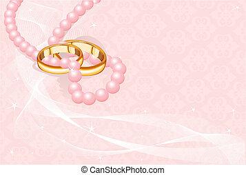 ringen, roze, trouwfeest