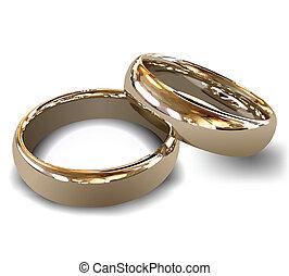 rings., vector, goud, trouwfeest
