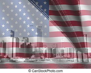 rippled, vlag, amerikaan, new york
