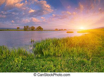 river., zonopkomst, landscape, morgen