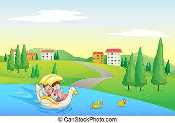 rivier, geitjes