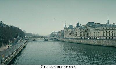 rivier, grit, kado, conciergerie, zegen, parijs, beroemd, france., plek, 4k, rechtbanken, gevangenis, wet, vroegere, pan