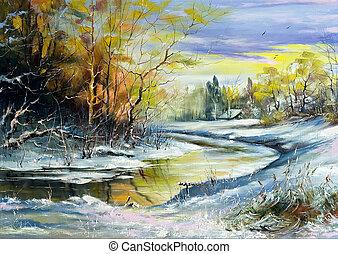 rivier, winter, dorp