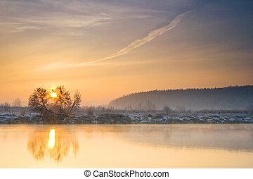 rivier, winter, zonopkomst, op