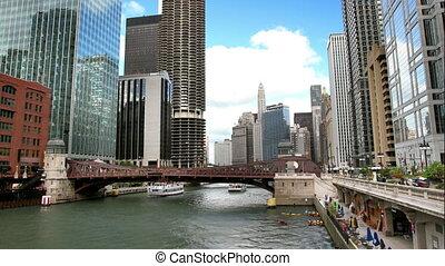 rivier, wolkenkrabbers, chicago