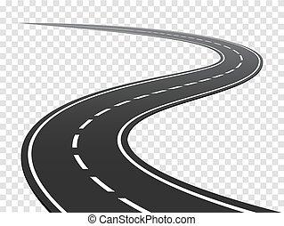 road., verkeer, reis, wikkeling, highway., gebogen