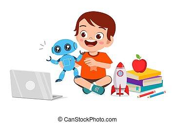 robot, jongen, weinig; niet zo(veel), toneelstuk, vrolijke , computer, schattig, geitje