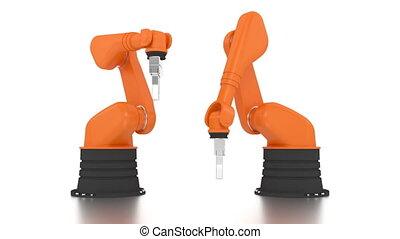 robotachtige armen, gebouw, industriebedrijven, woord, gedaan