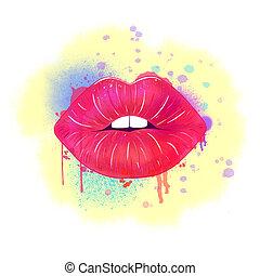 rode lippen, watercolor