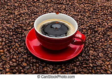 roeien, koffie, druppels, kop