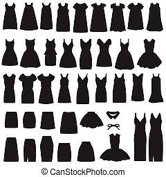 rok, silhouette, jurkje