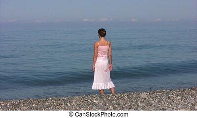 rok, vrouw, strand, stalletjes, transparant