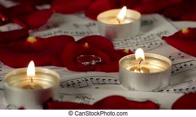 romantische, trouwfeest, atmosfeer, ring