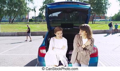 romp, parkeren, open, partij, twee meisjes