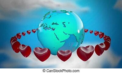 ronddraaien, aarde, hartjes