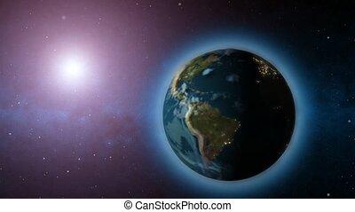 ronddraaien, aarde, zon