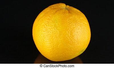 ronddraaien, achtergrond., citrus., black , sinaasappel
