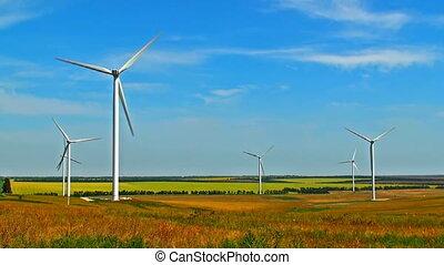 ronddraaien, akker, turbines, wind