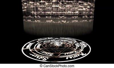 ronddraaien, baphomet, oogverblindend, hekserij, rune, christus, rays., ongeveer, pentagram, energie