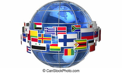 ronddraaien, wereldbol, vlaggen