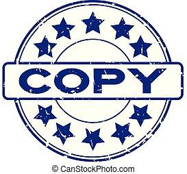 ronde, grunge, achtergrond, ster, rubber, woord, pictogram, kopie, witte , blauwe , zeehondje, postzegel
