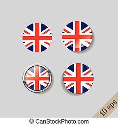 ronde, set, vlaggen, verenigd koninkrijk, badges.