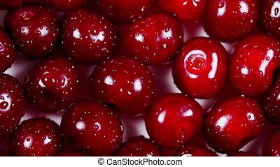 rondgedraaide, kers, rood, seizoenen, organisch, berry., achtergrond.