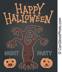rondgespookte, illustratie, pompoennen, sinaasappelboom, spooky