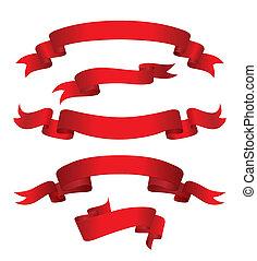 rood, banieren, (vector)