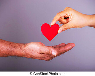 rood, care, gezondheid, arm, heart., meisje, concept., verzekering