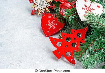 rood, engel, tak, kerstmis, hart, plek, achtergrond, tekst