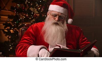 rood, fireplace., claus, kerstman, witte , boek, achtergrond, baard, lezende , kerstboom, bril