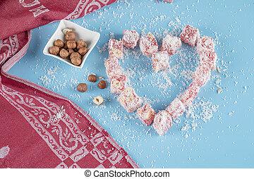 rood, gevormd, nootjes, hart, suikergoed