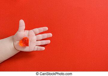 rood, hand, leggen, space., hart, plat, achtergrond, baby, pasgeboren, kopie