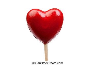 rood hart, gevormd, versuikeren