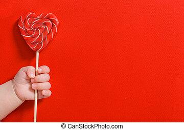 rood, stok, hand, zoet hart, vasthouden, achtergrond, versuikeren, baby, pasgeboren