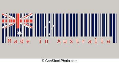rood, text:, streepjescode, dommekracht, ster, unie, australië kleur, gemaakt, blauwe , witte , set, australia., vlag