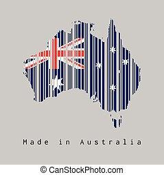 rood, text:, streepjescode, schets, ster kaart, unie, australië kleur, gemaakt, blauwe , dommekracht, witte , set, australia., vorm, vlag