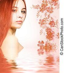 roodharige, water, gereproduceerd