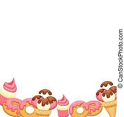 room, vanille, vector, cupcake, donut, eps, design., ijs, aardbei, achtergrond, roze, tien, jouw, illustratie, glaze.