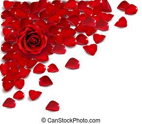roos, vector, petals., rode achtergrond